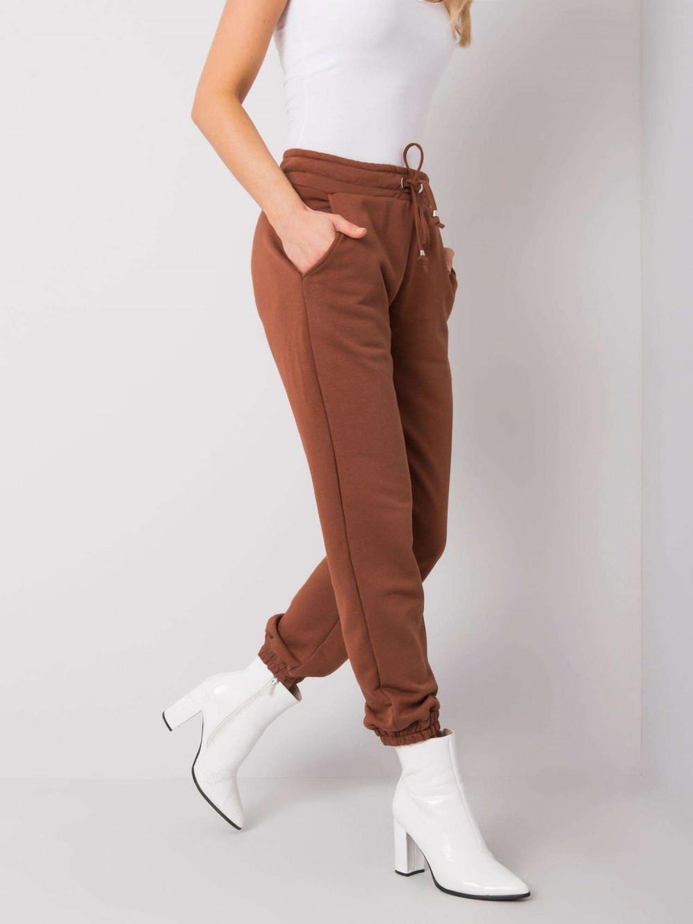 Brązowe spodnie dresowe ze ściągaczami Asma 3