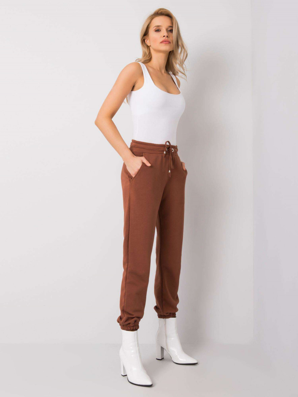 Brązowe spodnie dresowe ze ściągaczami Asma 1