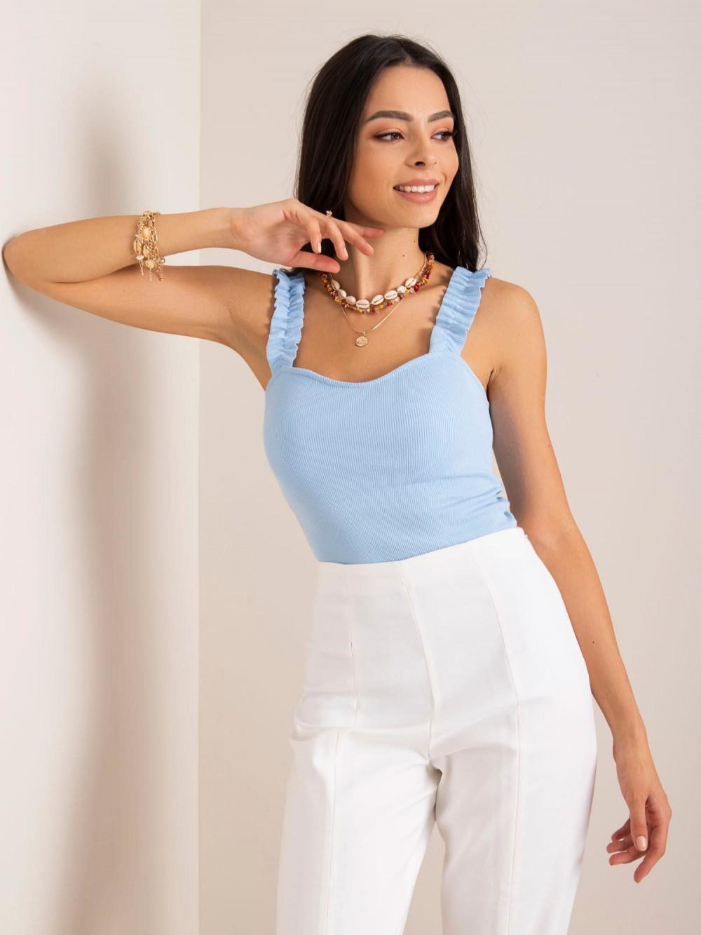Niebieski top z falbankami na ramiączkach Kathy 1