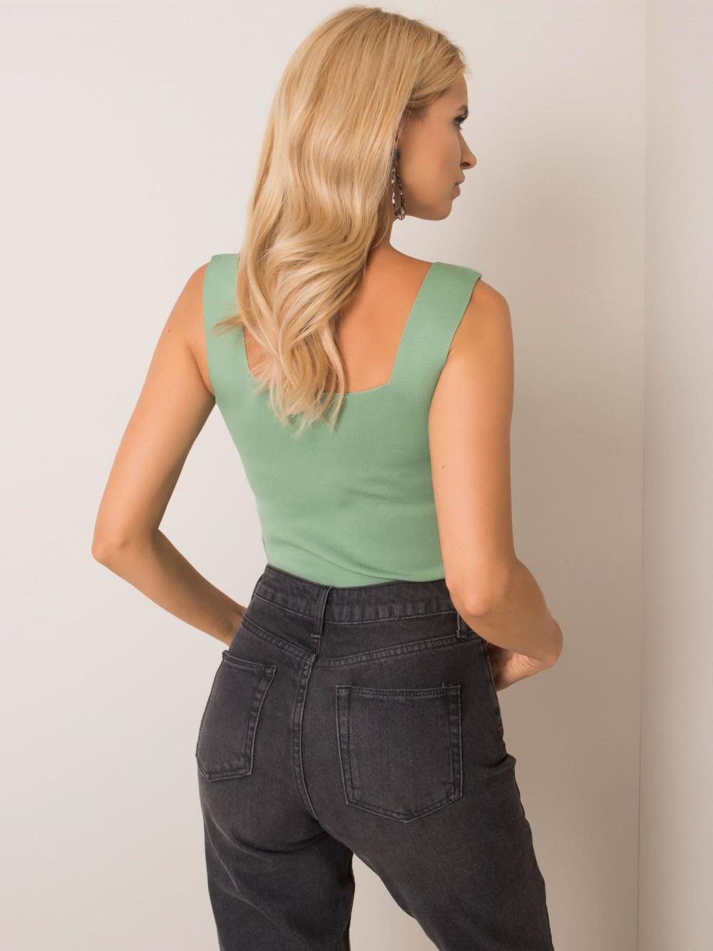 Zielony top na szerokich ramiączkami Seros 3