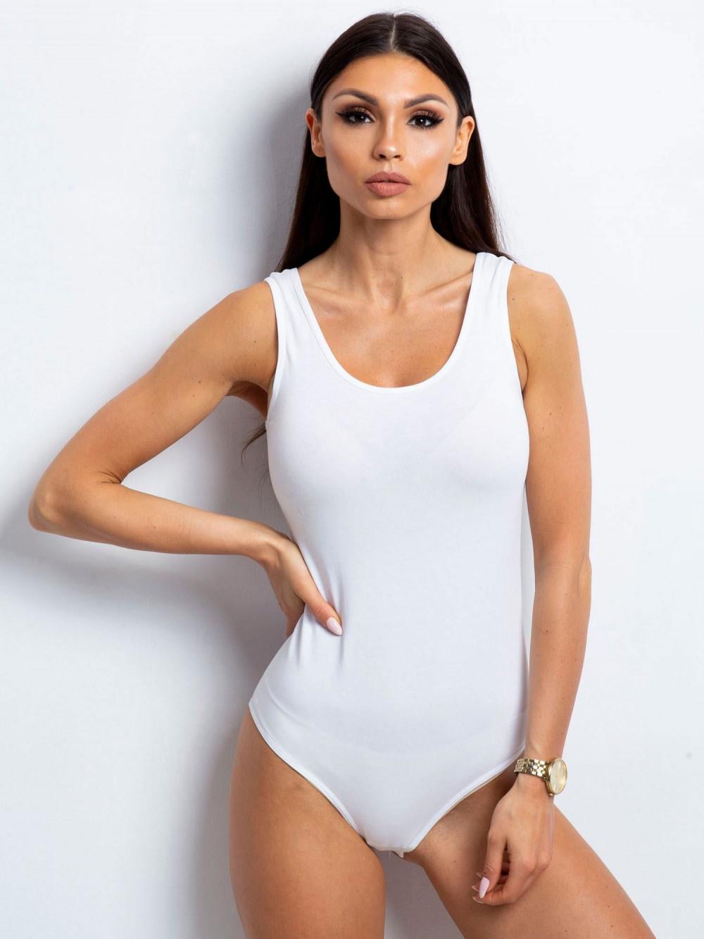 Białe body na szerokich ramiączkach Leins 1