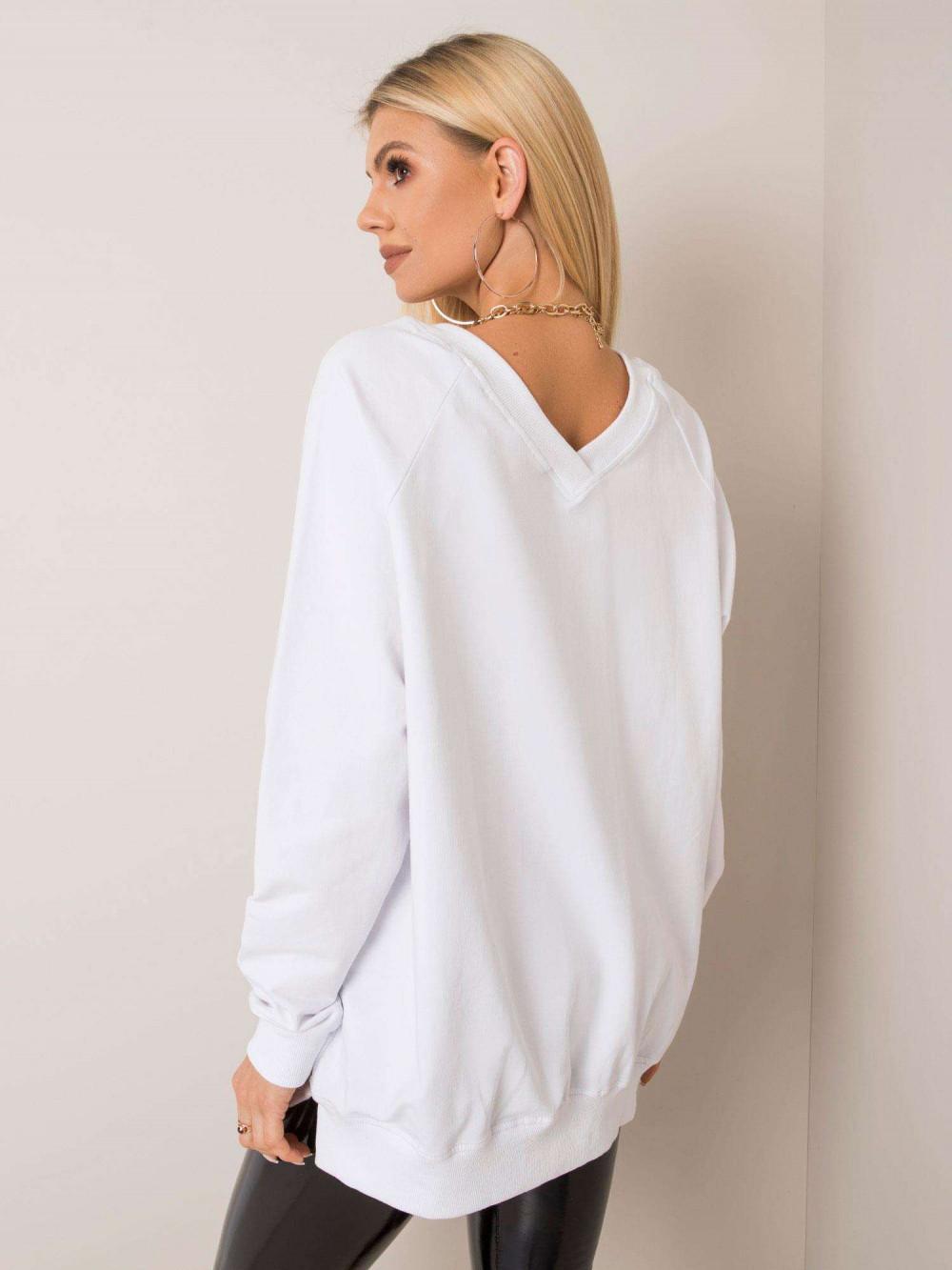 Biała bluza z wycięciem V na plecach Serafia 2