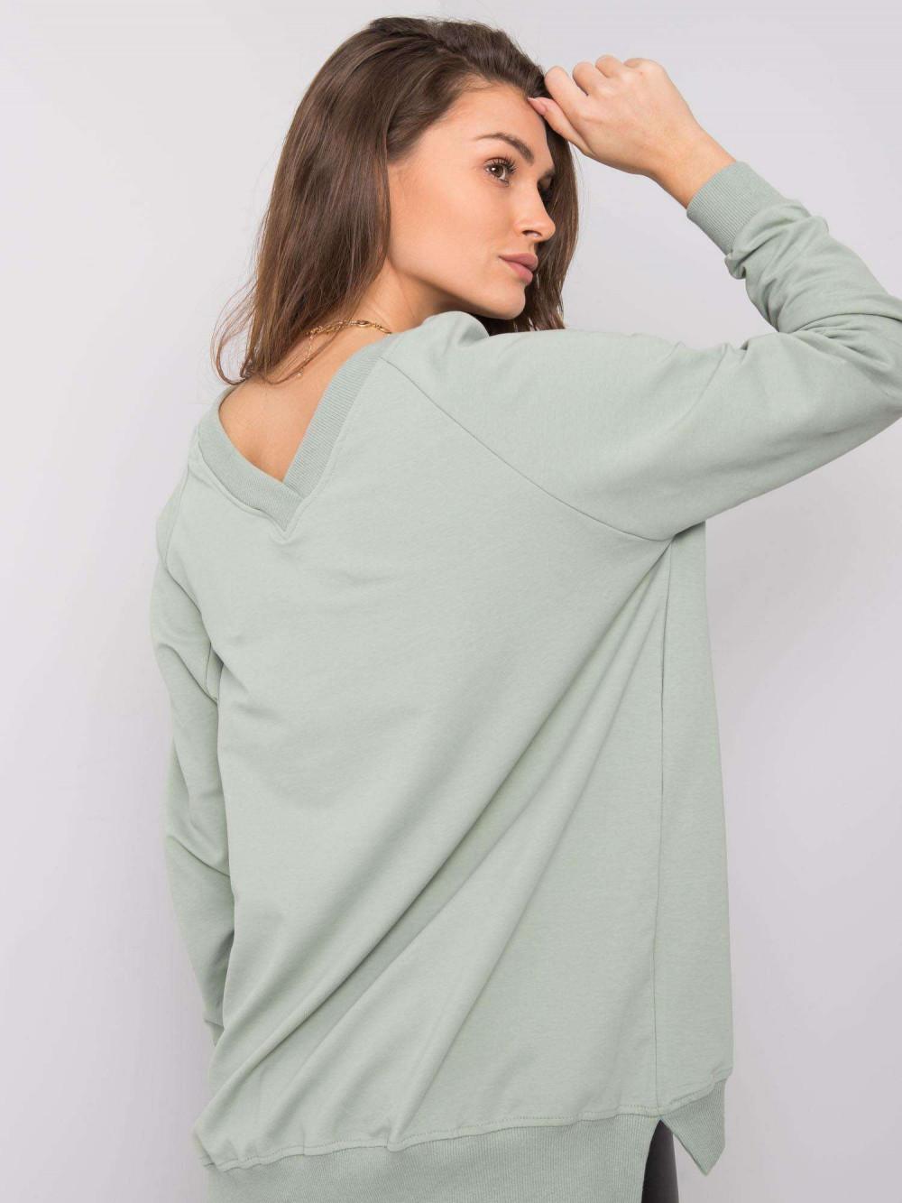 Pistacjowa bluza z wycięciem V na plecach Serafia 5
