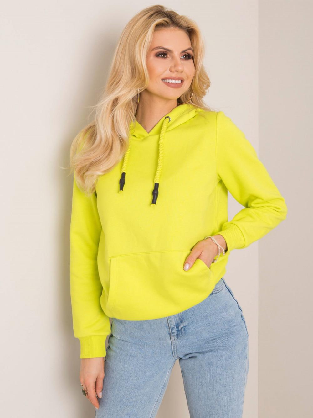 Limonkowa bluza kangur z kieszenią Lavo 1