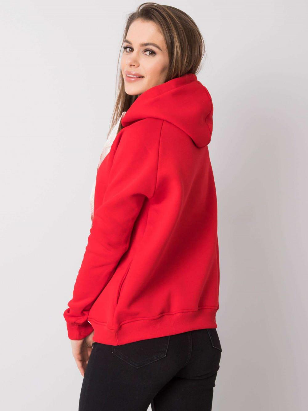 Czerwona bluza fitness z troczkami Fasma 4