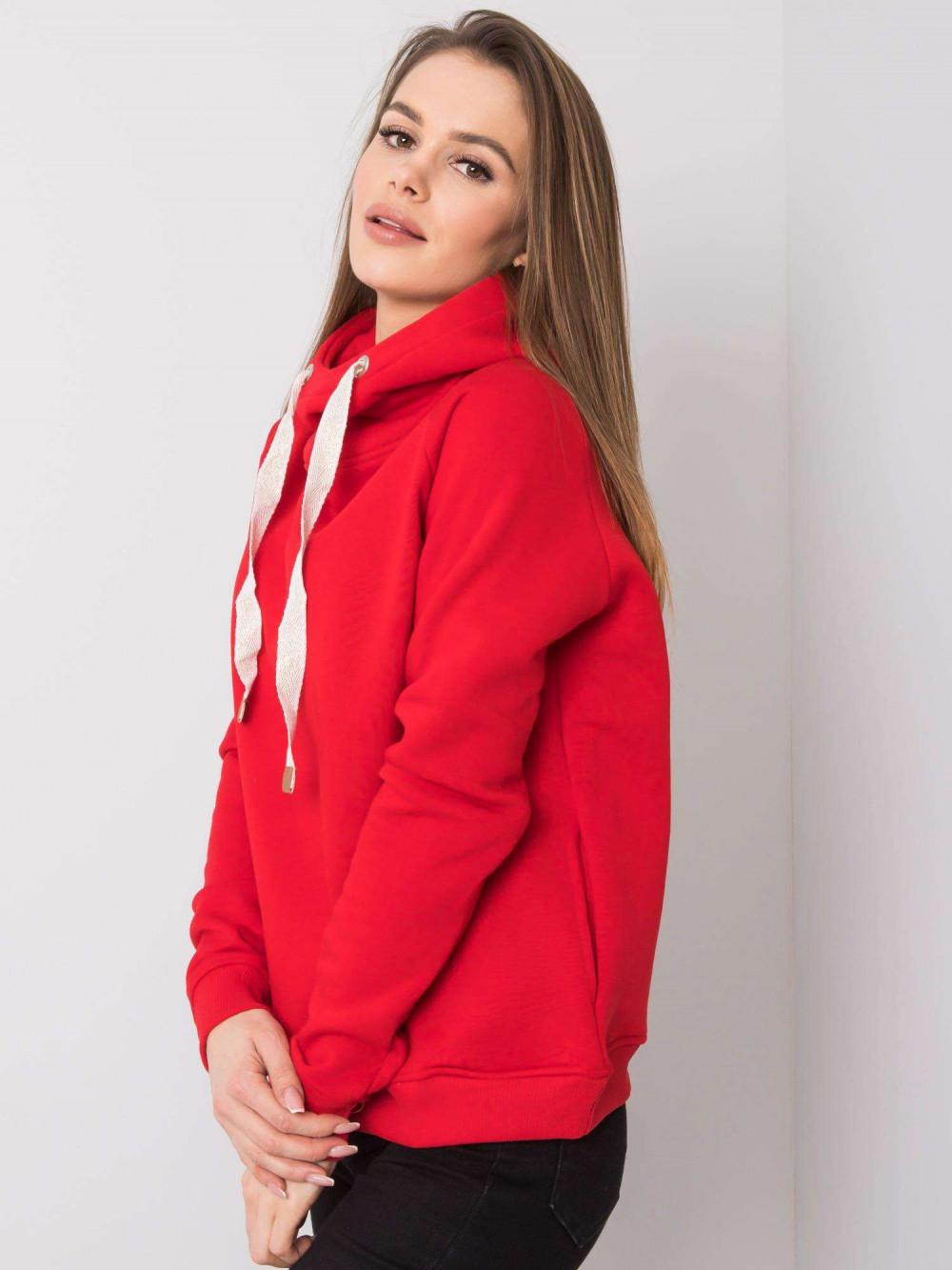 Czerwona bluza fitness z troczkami Fasma 3