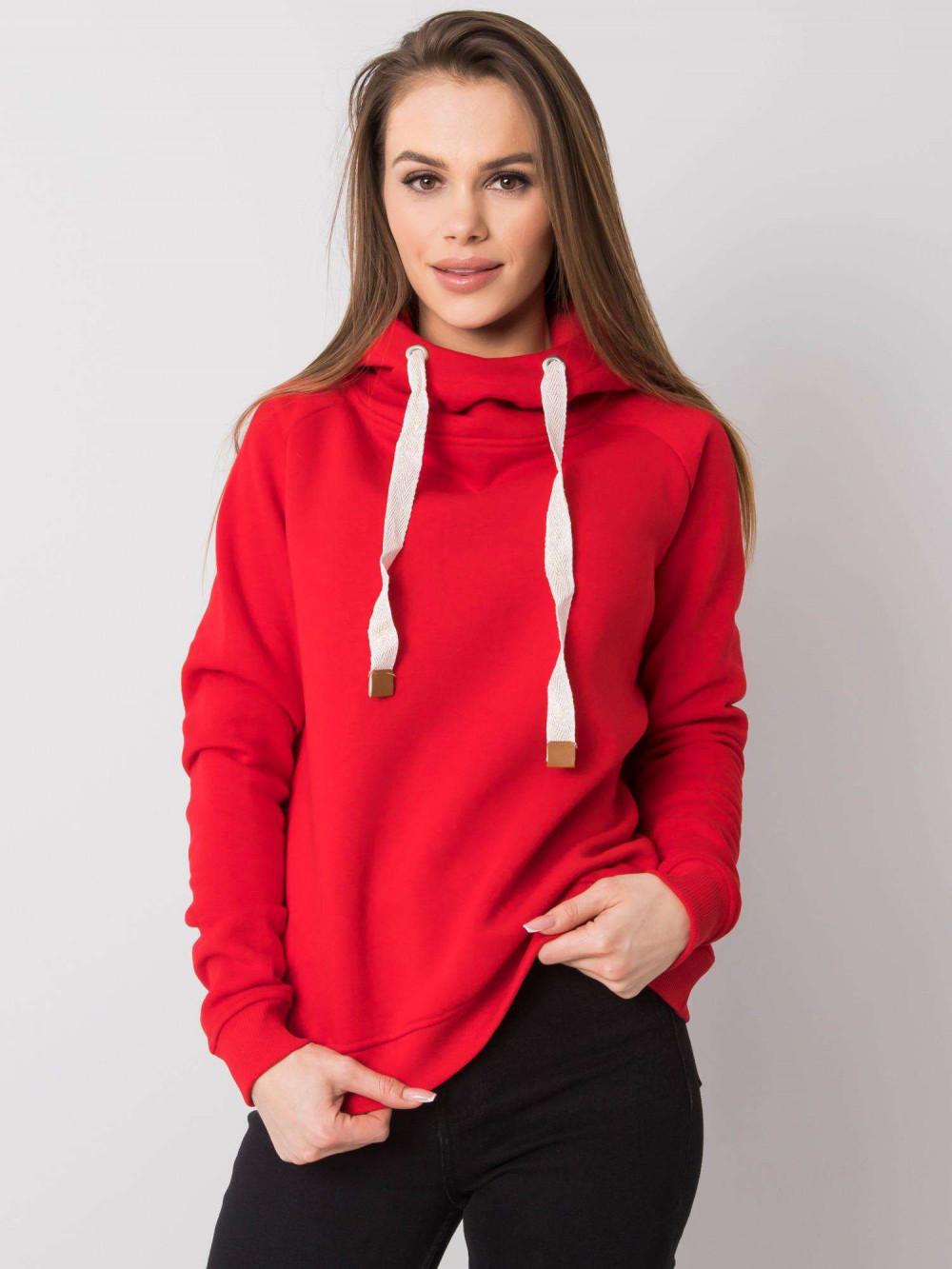 Czerwona bluza fitness z troczkami Fasma 2