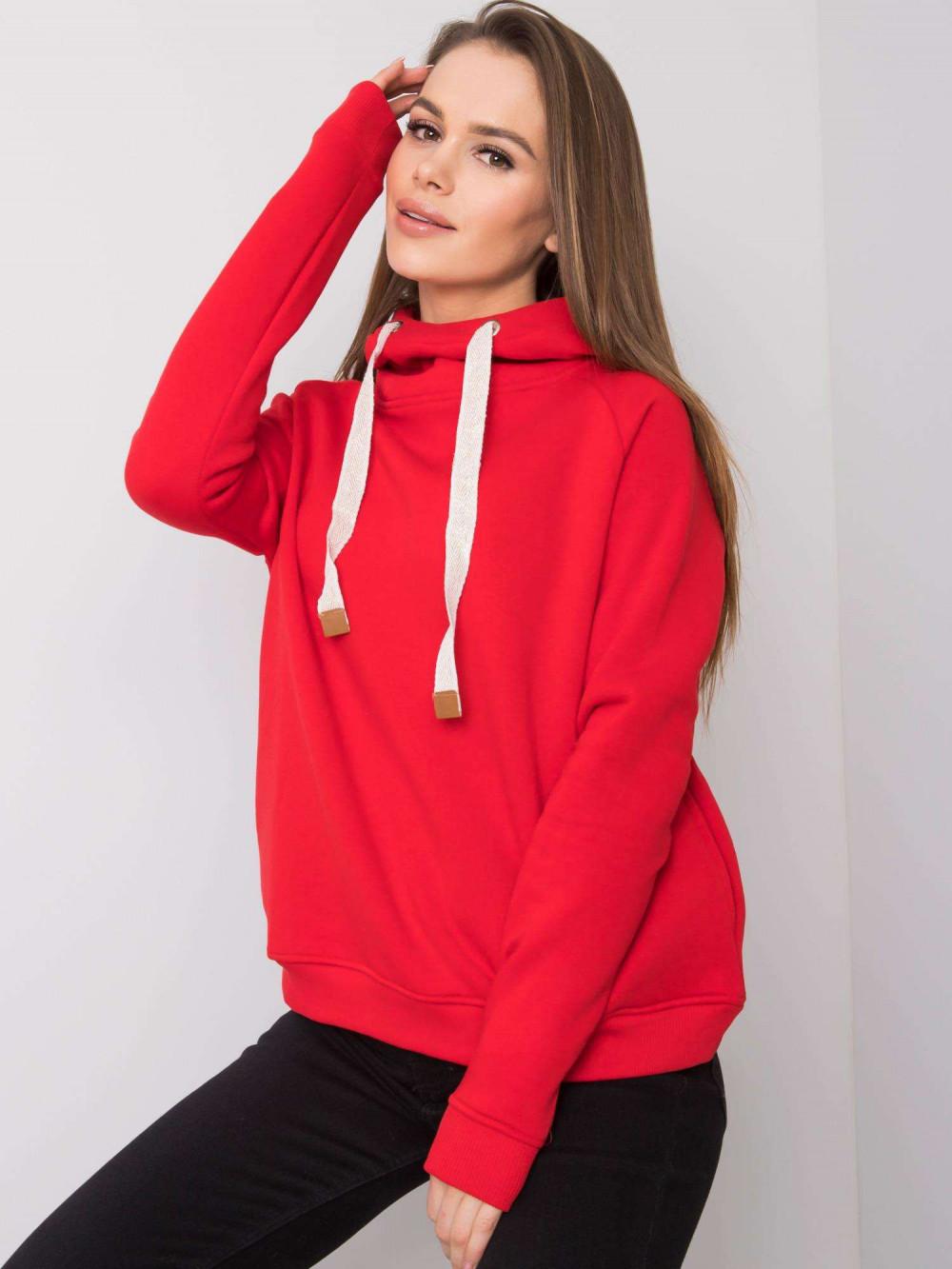 Czerwona bluza fitness z troczkami Fasma 1