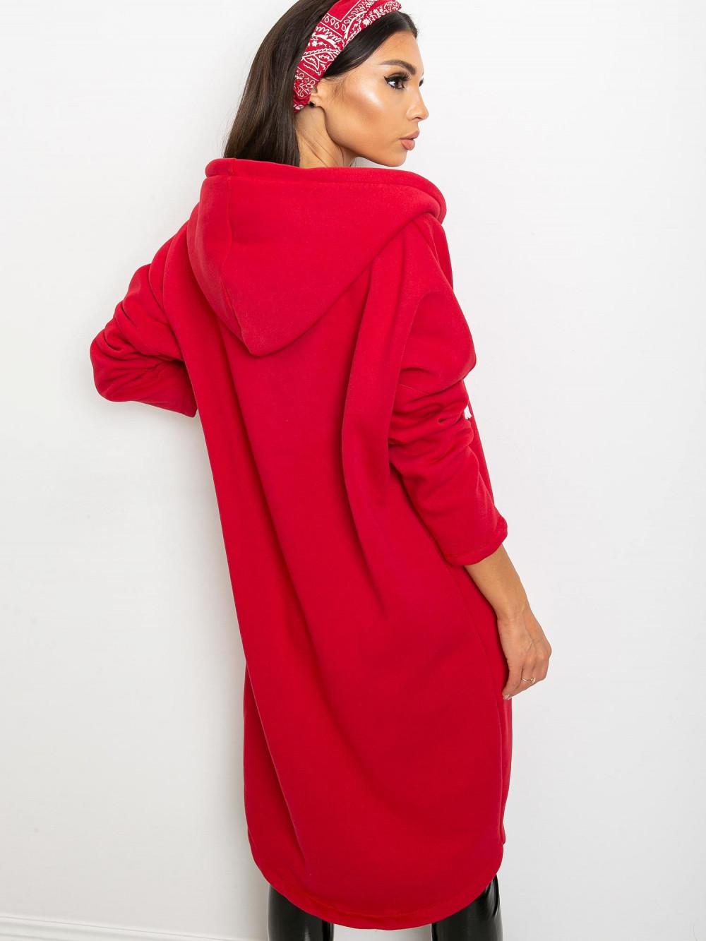Czerwona długa bluza z kapturem Stylo 4