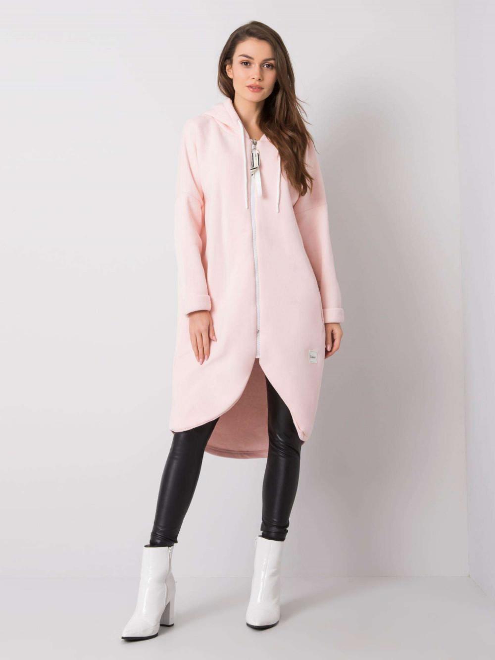 Różowa długa bluza z kapturem Stylo 1