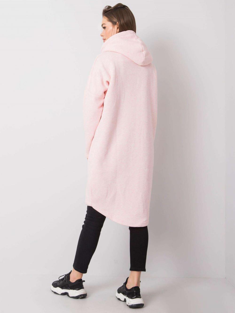 Różowa melanżowa długa bluza z kapturem Stylo 4