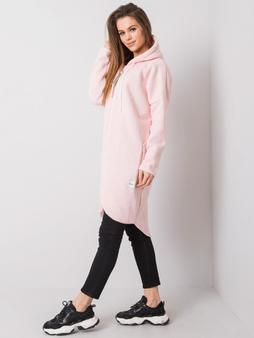 Różowa melanżowa długa bluza z kapturem Stylo 3
