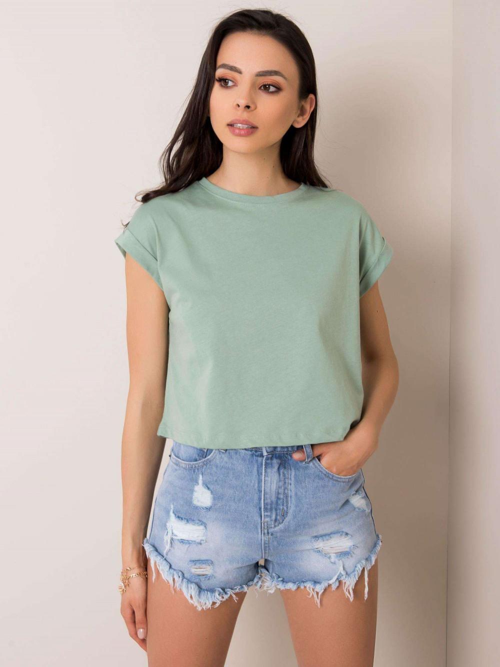 Zielony t-shirt crop top Spone 1
