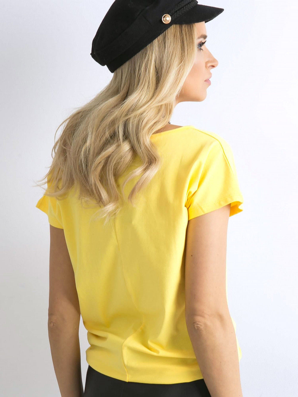 Żółty t-shirt basic Rough 4