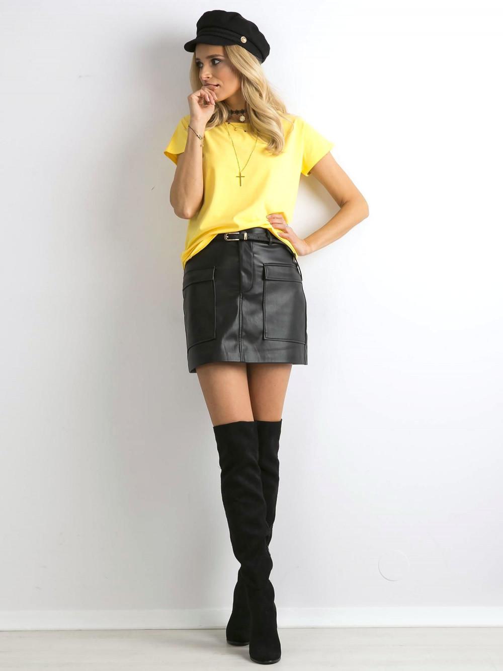 Żółty t-shirt basic Rough 3