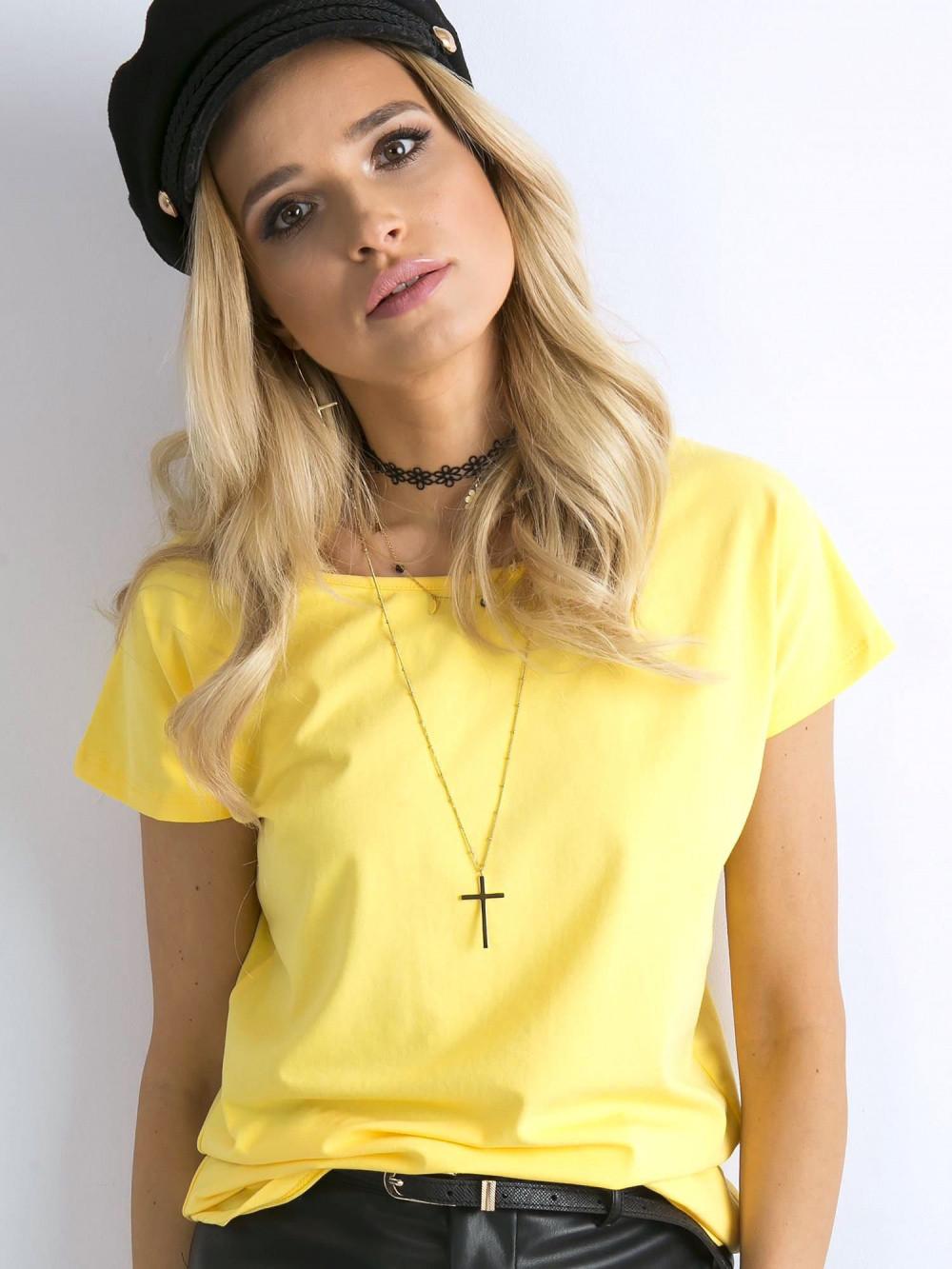 Żółty t-shirt basic Rough 1