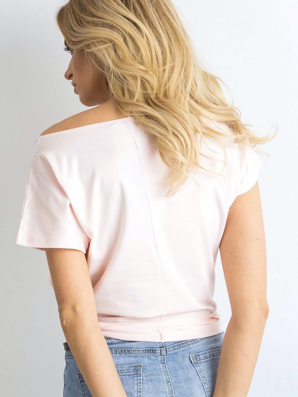 Jasnoróżowy t-shirt basic Rough 4