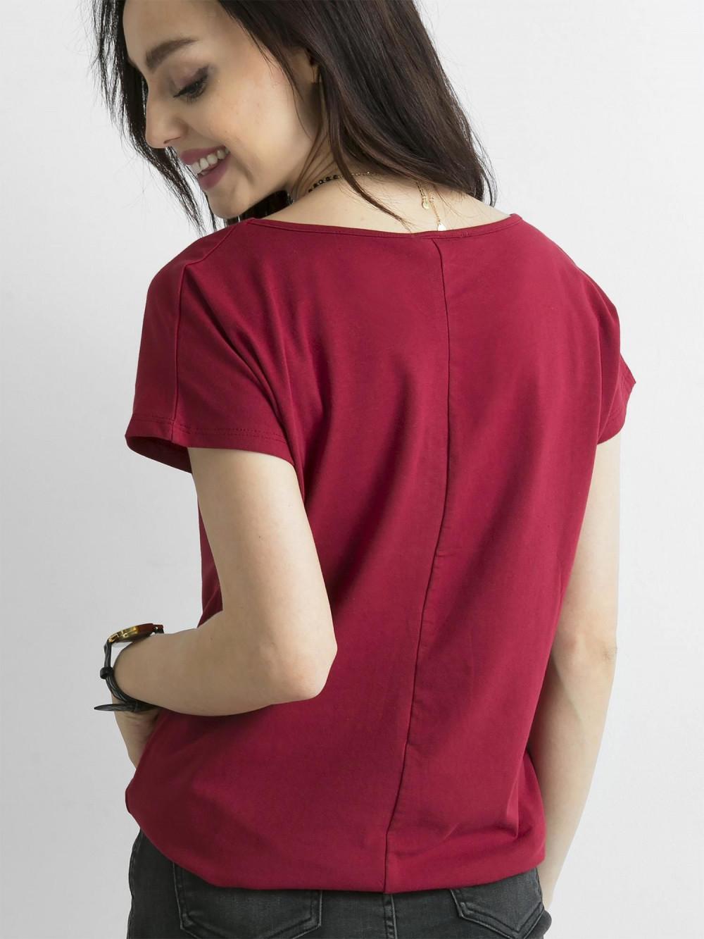 Bordowy t-shirt basic Rough 4