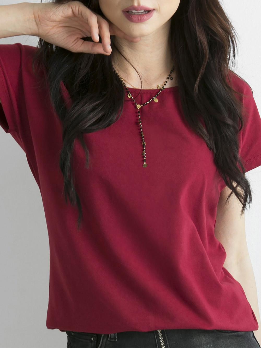 Bordowy t-shirt basic Rough 1