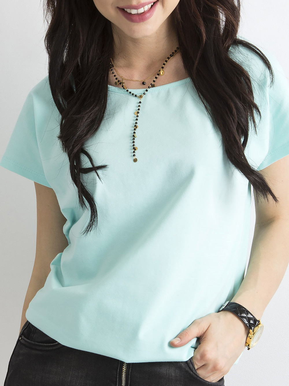 Miętowy t-shirt basic Rough 1