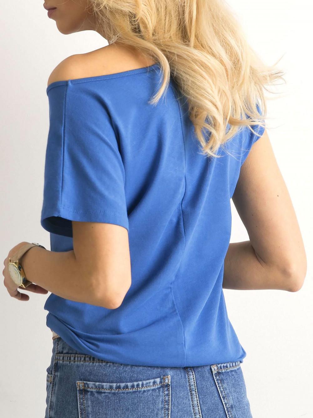 Ciemnoniebieski t-shirt basic Rough 4