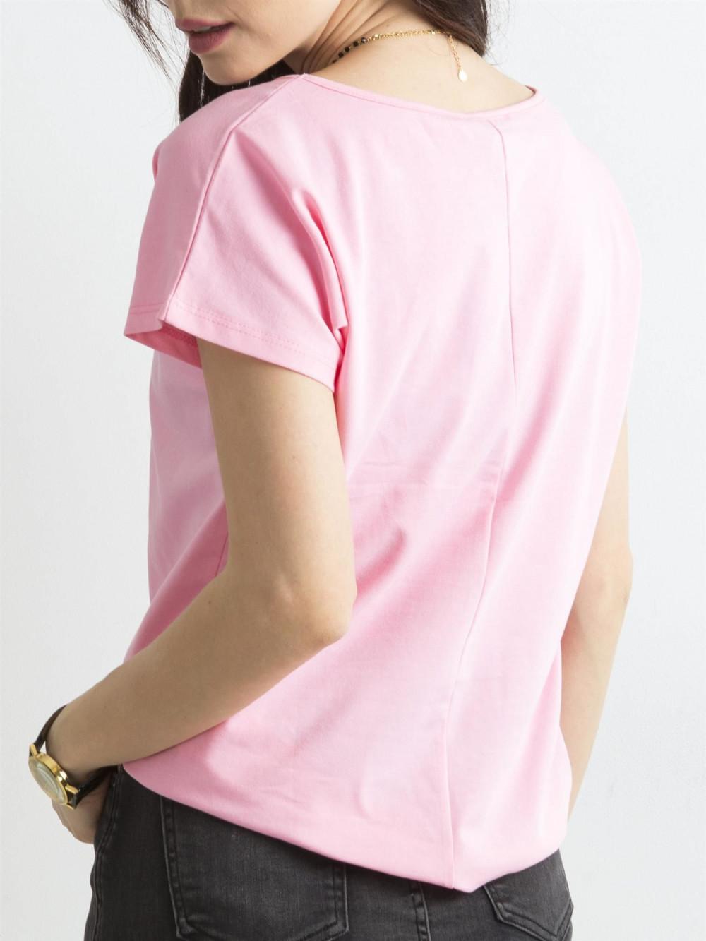 Różowy t-shirt basic Rough 4