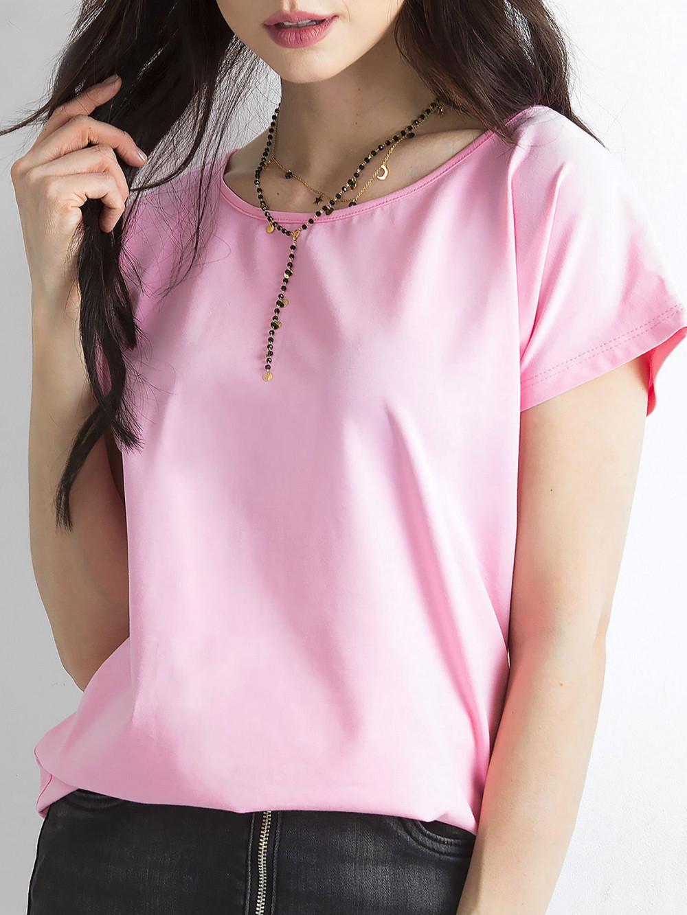 Różowy t-shirt basic Rough 2