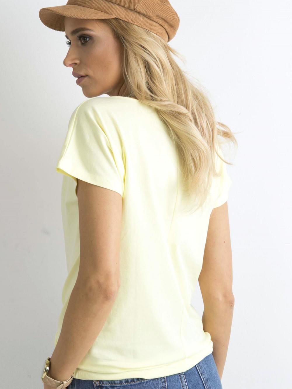 Pastelowo żółty t-shirt basic Rough 4