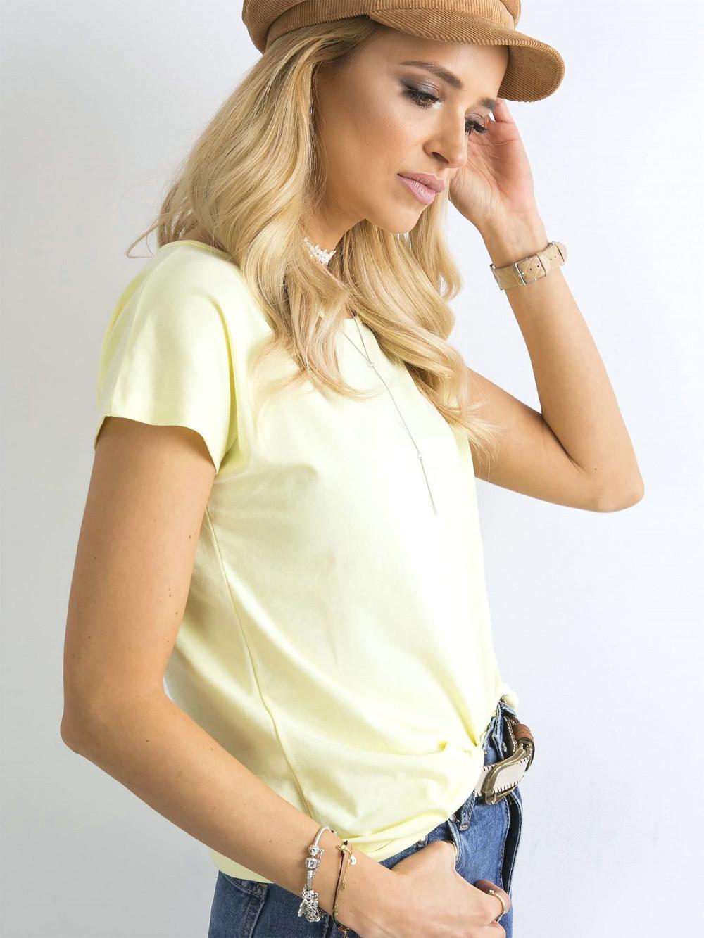 Pastelowo żółty t-shirt basic Rough 2