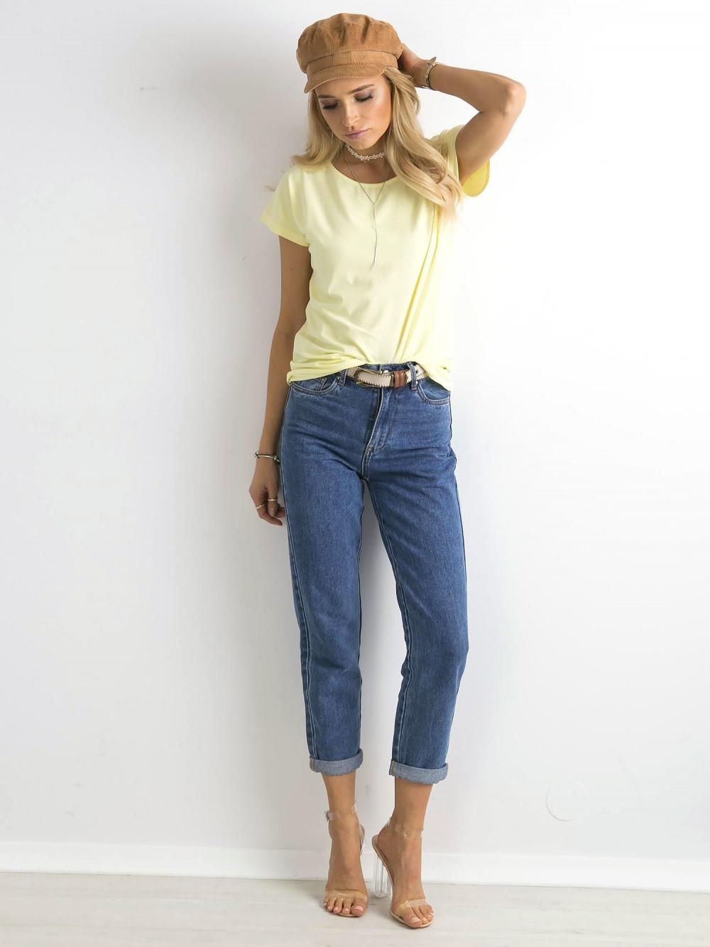 Pastelowo żółty t-shirt basic Rough 3