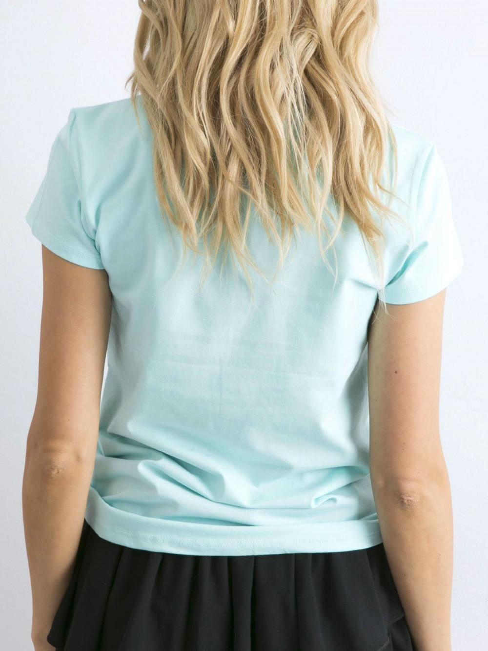 Miętowy t-shirt O-Neck Esma 4
