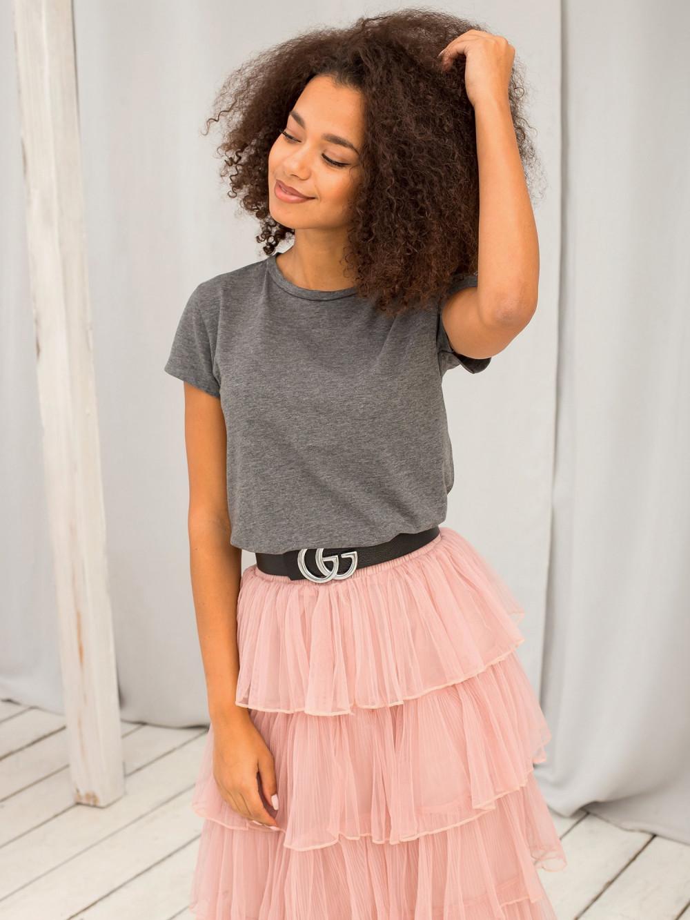 Ciemnoszary t-shirt O-Neck Esma 2