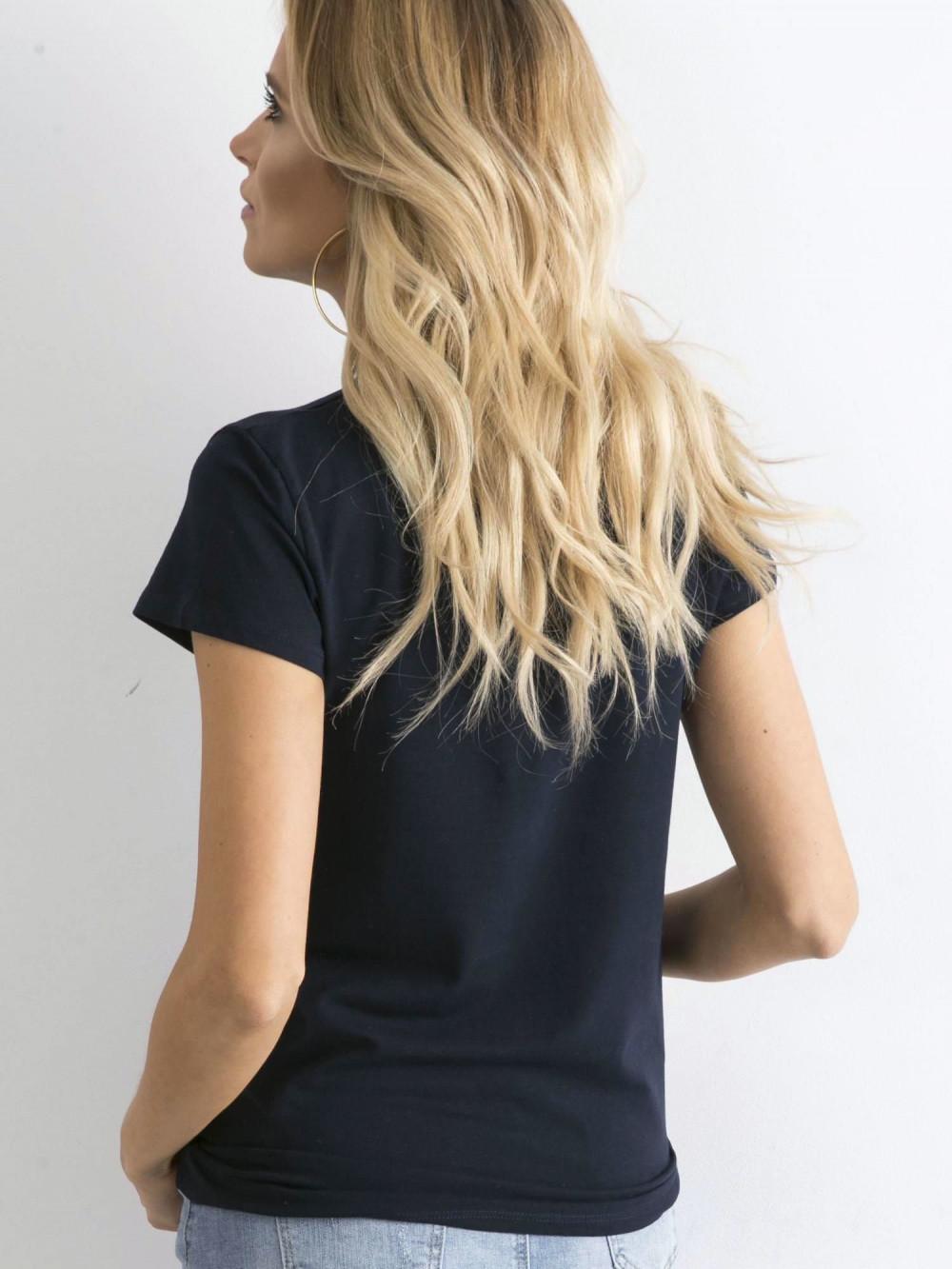 Granatowy t-shirt O-Neck Esma 5