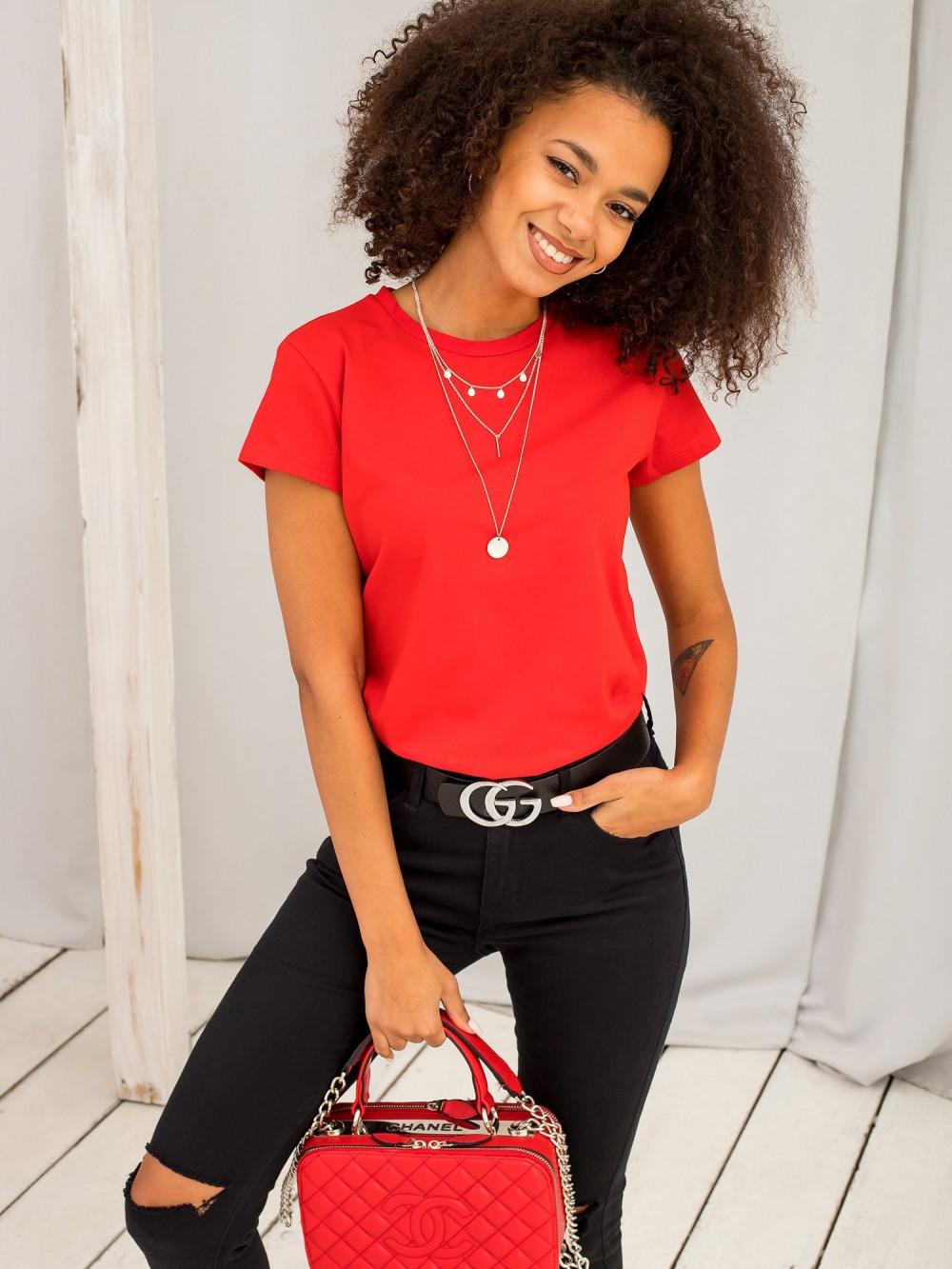 Czerwony t-shirt O-Neck Esma 2