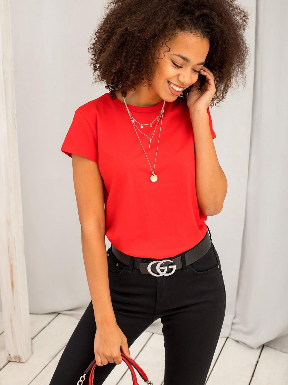 Czerwony t-shirt O-Neck Esma 3
