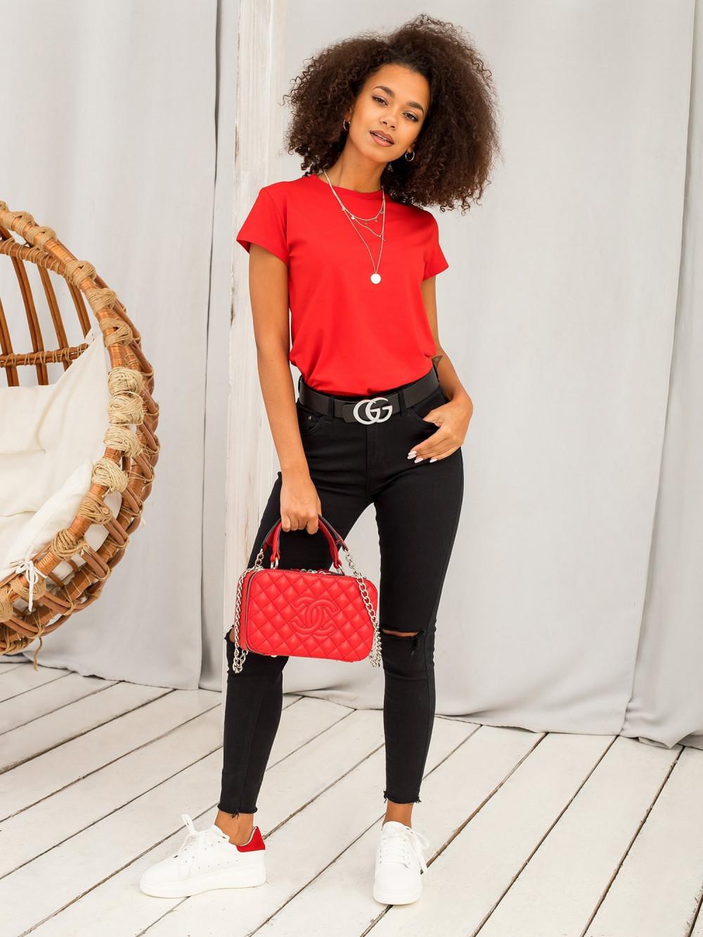 Czerwony t-shirt O-Neck Esma 5