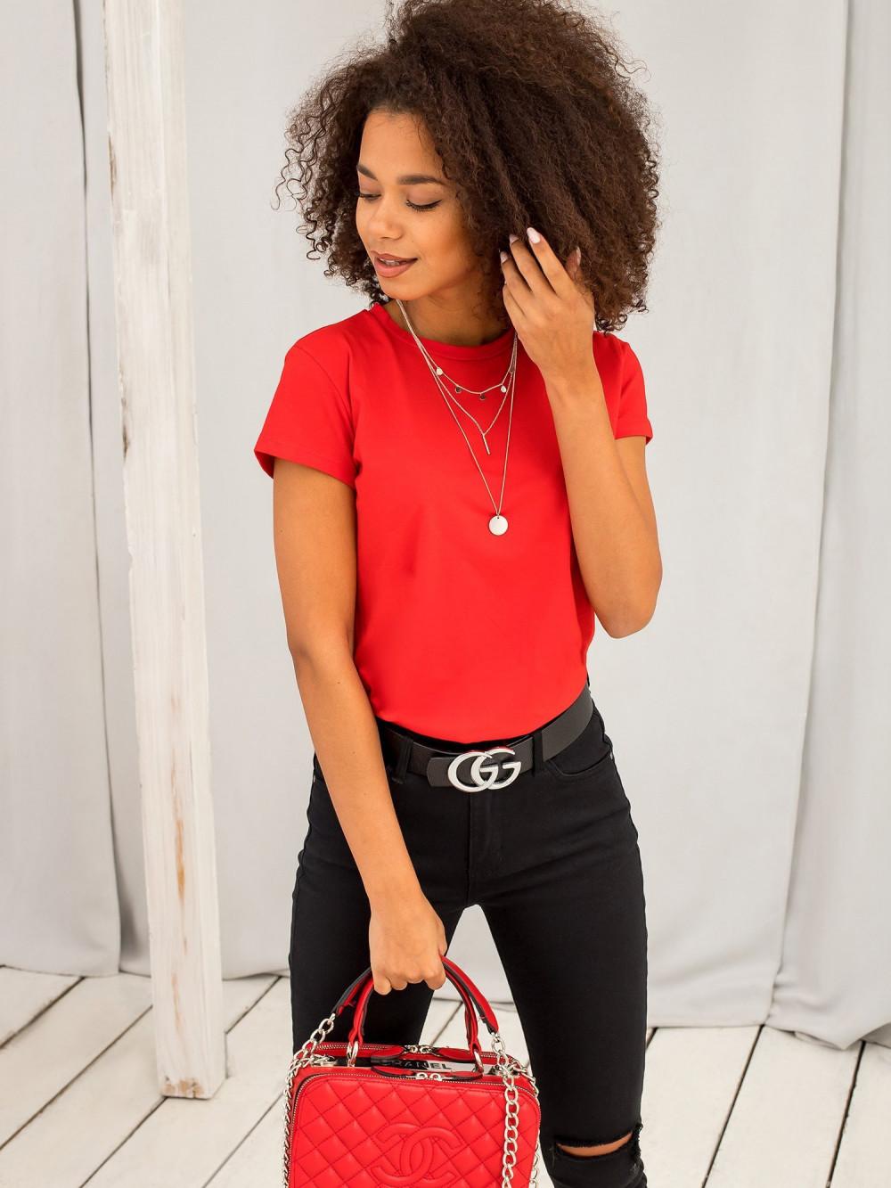 Czerwony t-shirt O-Neck Esma 4