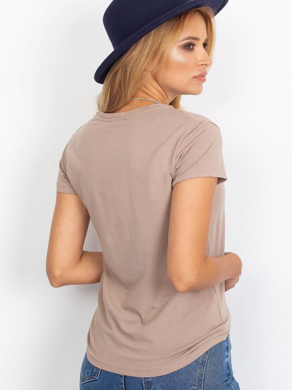 Ciemnobeżowy t-shirt O-Neck Esma 4