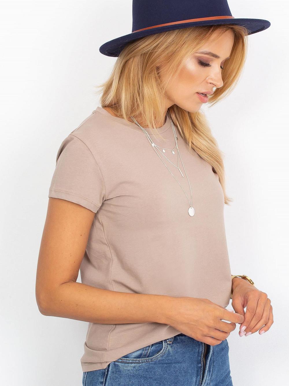 Ciemnobeżowy t-shirt O-Neck Esma 2