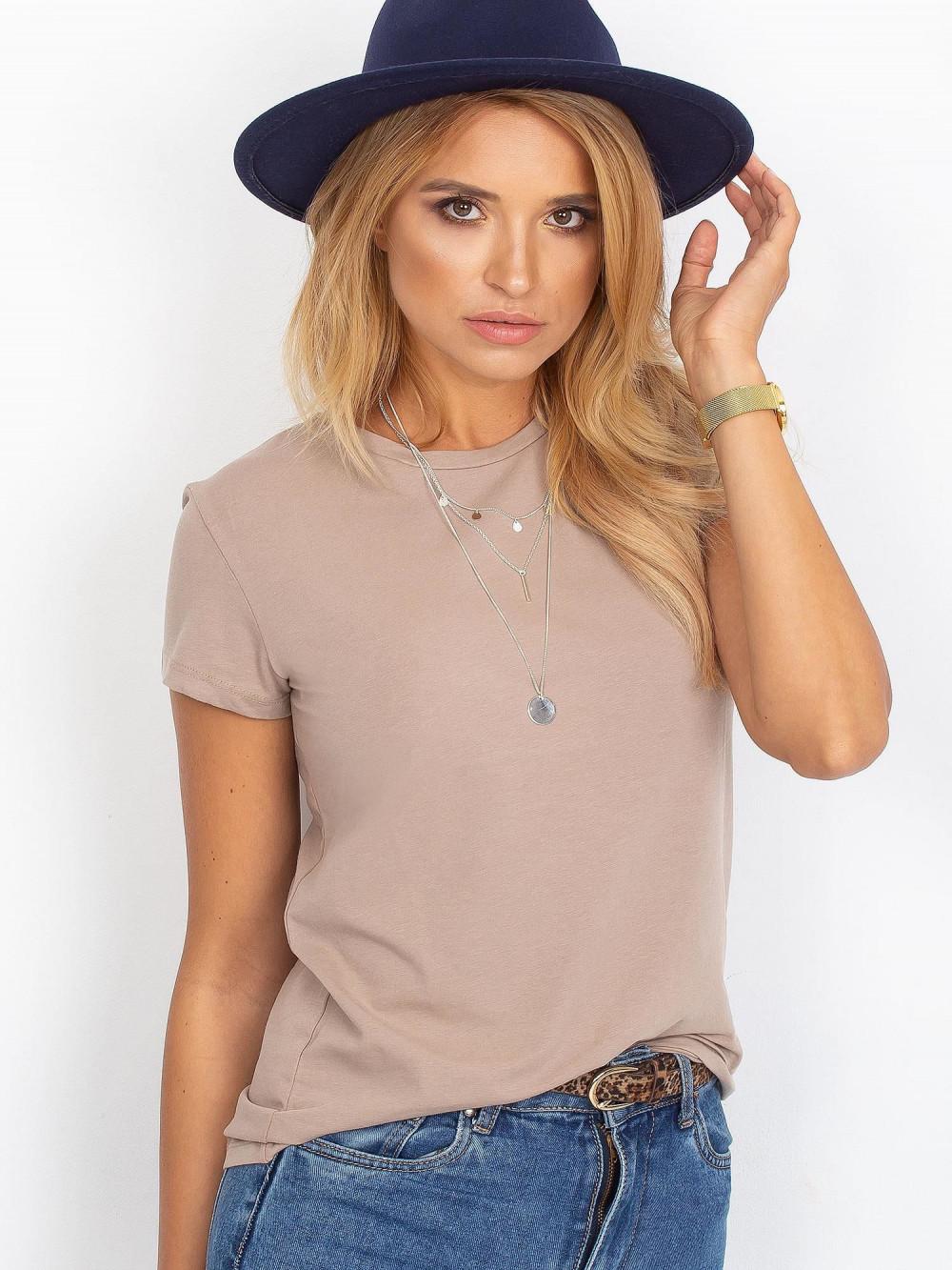Ciemnobeżowy t-shirt O-Neck Esma 1