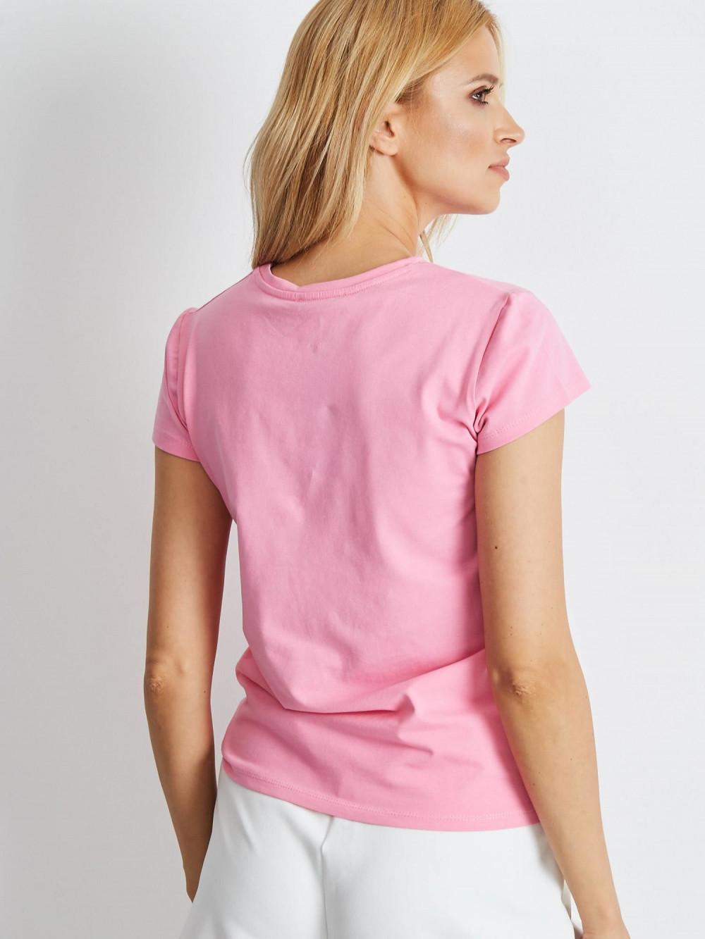 Jasnoróżowy t-shirt O-Neck Esma 4
