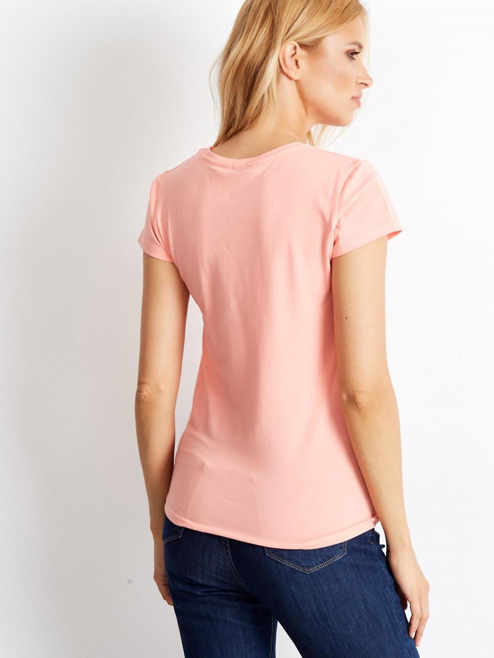 Brzoskwiniowy t-shirt O-Neck Esma 4