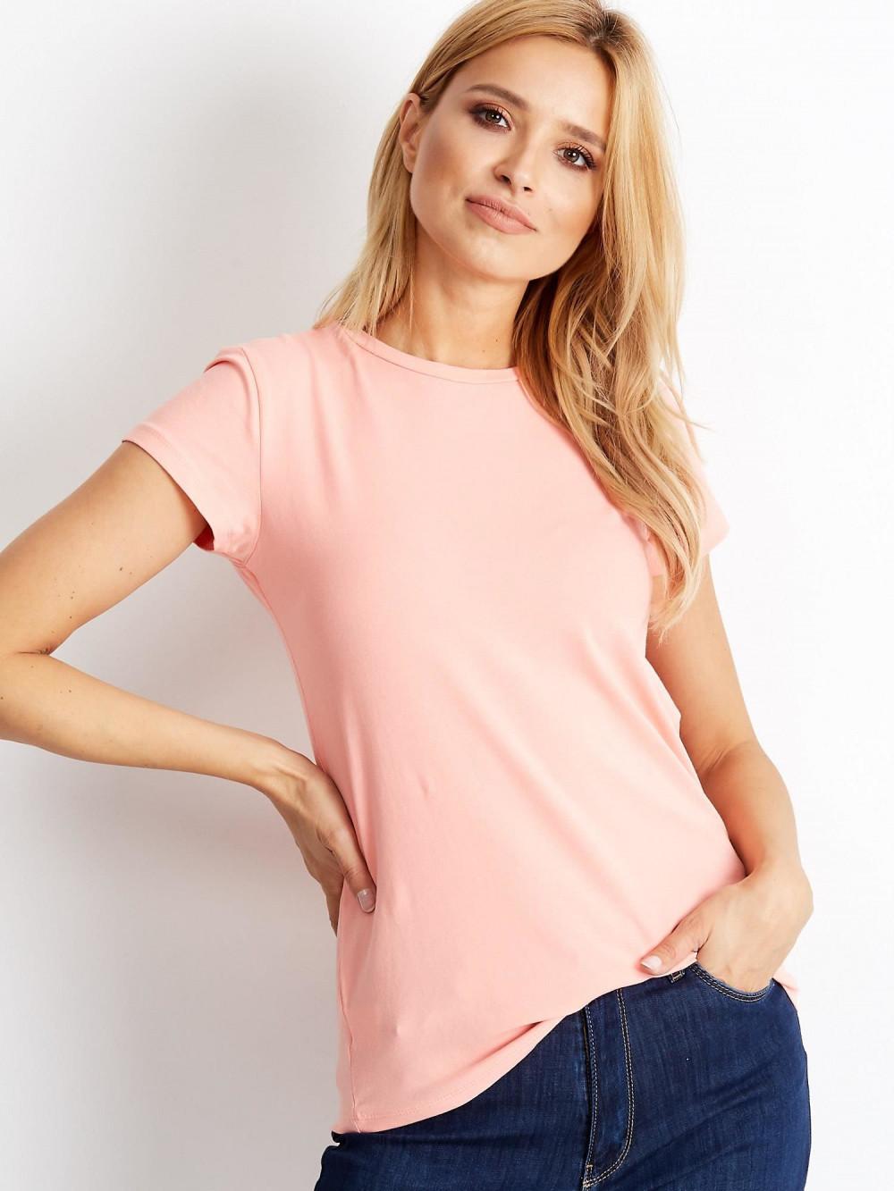 Brzoskwiniowy t-shirt O-Neck Esma 1