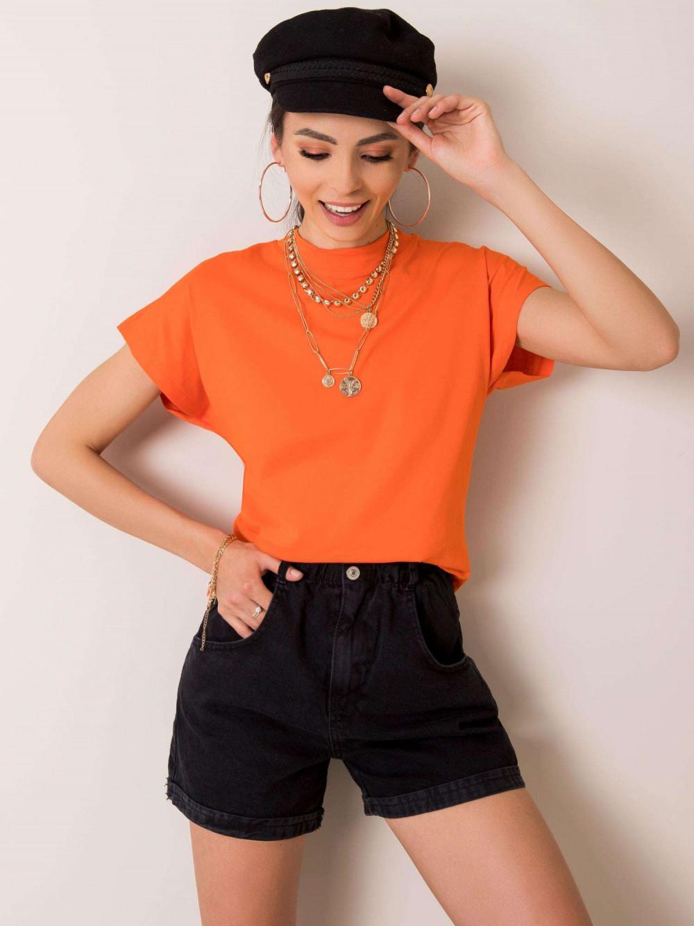 Pomarańczowy t-shirt z luźnymi rękawami Dose 1