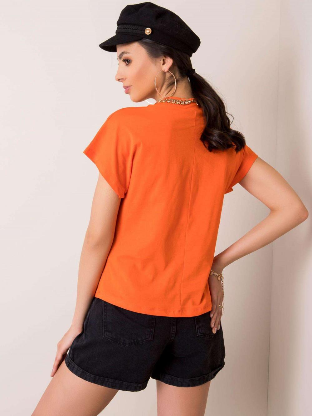 Pomarańczowy t-shirt z luźnymi rękawami Dose 2
