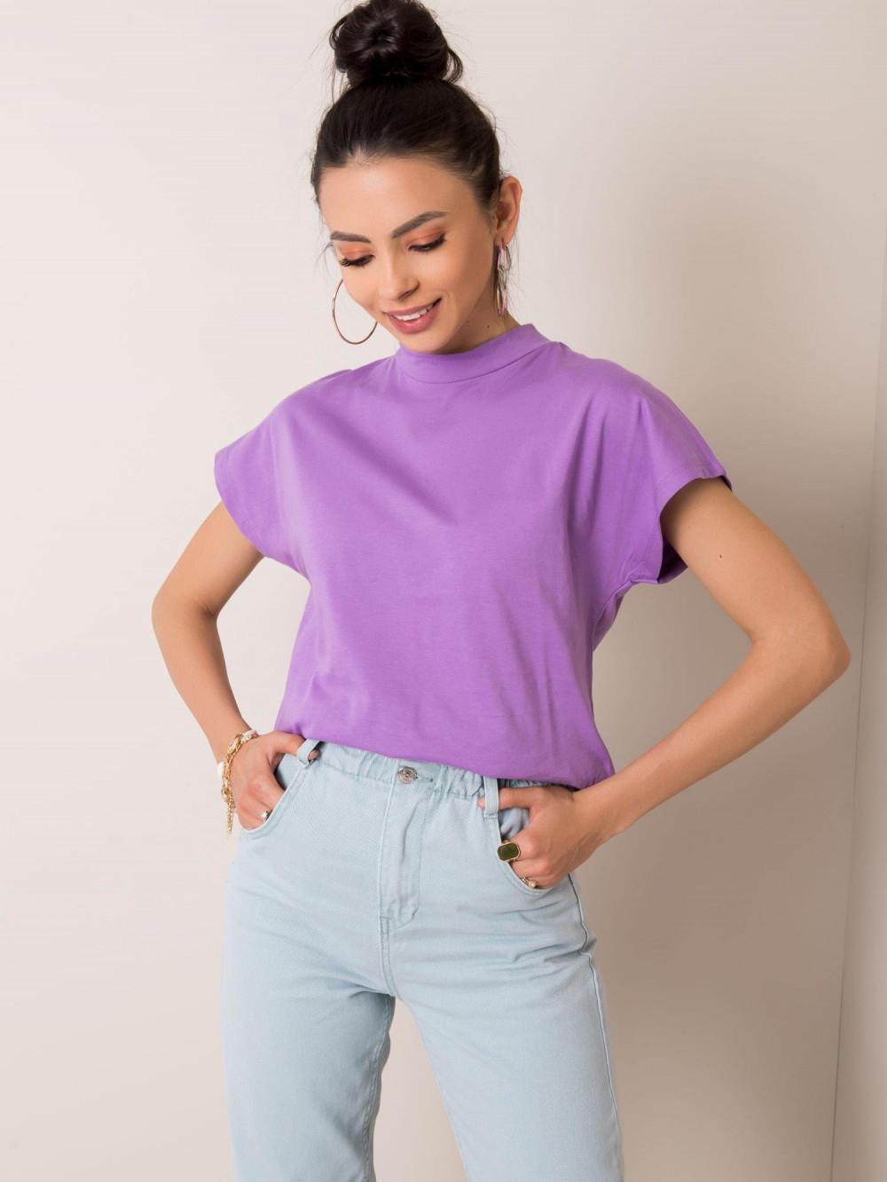 Fioletowy t-shirt z luźnymi rękawami Dose 1