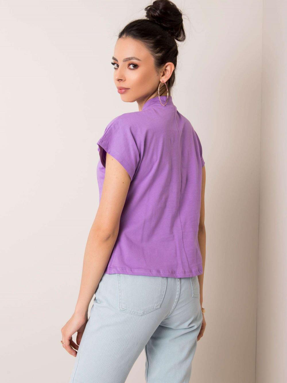 Fioletowy t-shirt z luźnymi rękawami Dose 2