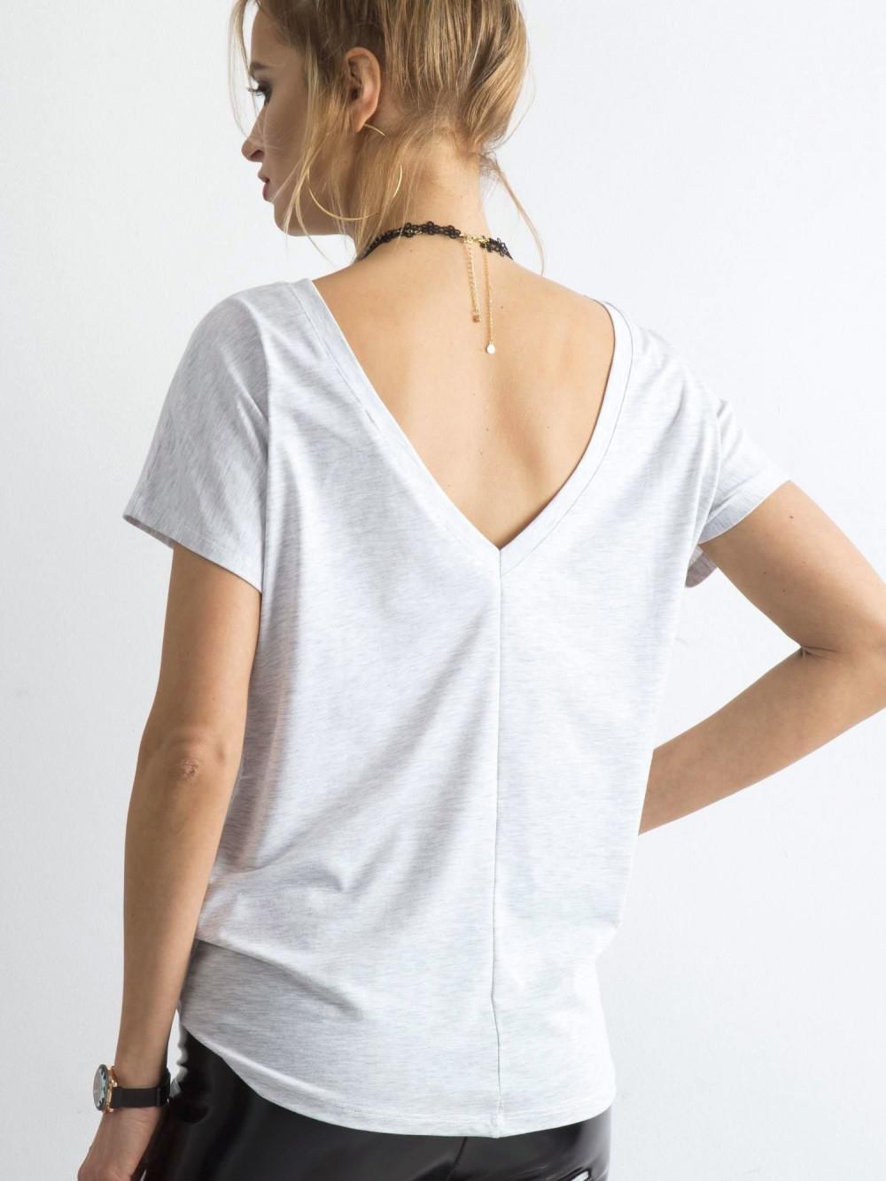 Jasnoszary t-shirt z wycięciem V na plecach Sharon 1