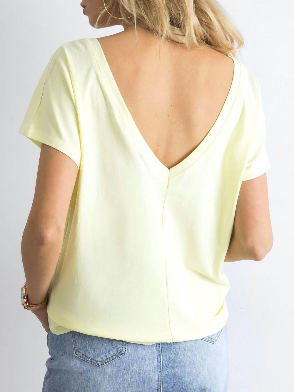 Pastelowo żółty t-shirt z wycięciem V na plecach Sharon 1