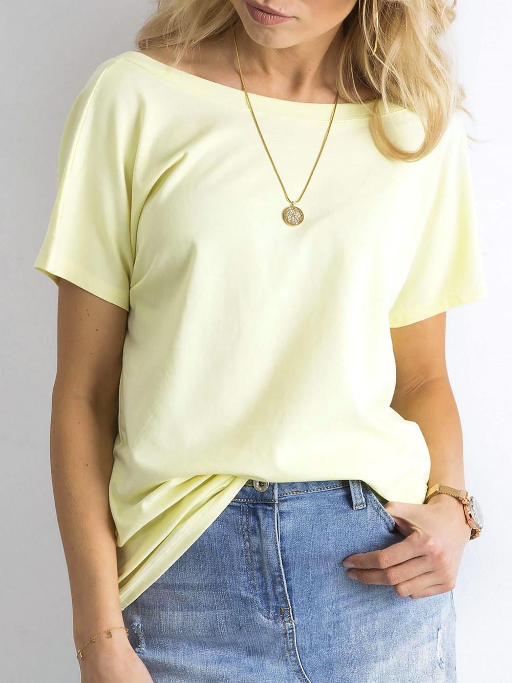 Pastelowo żółty t-shirt z wycięciem V na plecach Sharon 2